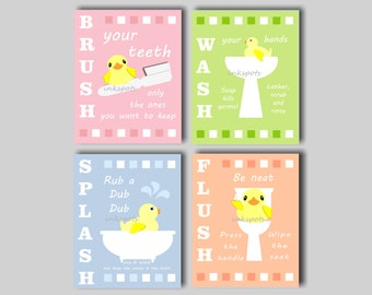 Kids Bathroom Art. Rubber Duck Bathroom. Bathroom Rules. Bath Rules.  Rubber Duck Bathroom. Brush. Wash. Splash. Flush. CHOOSE COLORS KB14