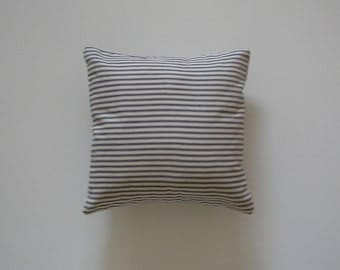 Ticking Striped 12x12 Pillow Cover Blue Stripes On Cream Background