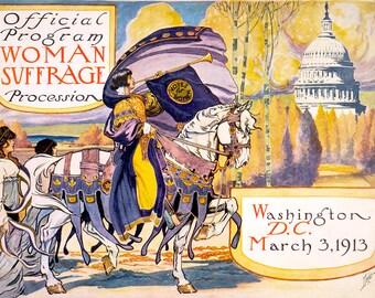 "Benjamin Moran Dale : ""Official Program - Woman Suffrage Procession, Washington D.C."" (1913) - Giclee Fine Art Print"
