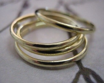 Stack ring, Set of 4, Stackable gold rings, Stacking, Gold rings, Brass rings, Smooth rings, Dainty ring, Knuckle ring