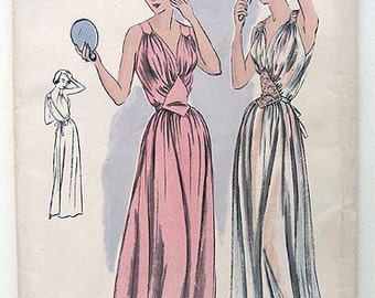 40s Vogue Pinup Femme Fatale Nightgown Sewing Pattern 6664. Size 18 Factory Folded