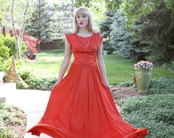 Vintage 1930s  Dress / Red Orange / Sequin Embellished / Long Dress  / Rayon / M