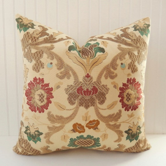 Decorative Pillow Cover Emerald Green Brick Red Brown