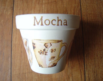 Hand Painted and Decoupaged Decorative Flower Pots, Coffee Culture Mocha