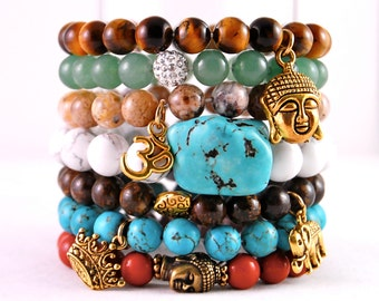 NEW Chic Stackable Summer Beaded Bracelets with Buddha/Elephant/Om/Crown/Turquoise Gold like Charms-Bronzite/Jade/Jasper-Fall 2013 Jewelry