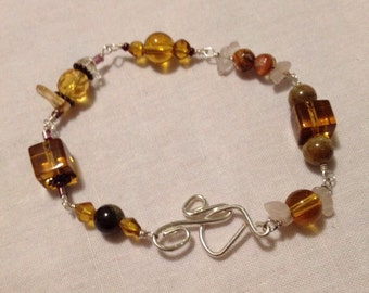 Amber Dreams Golden Beaded Bracelet