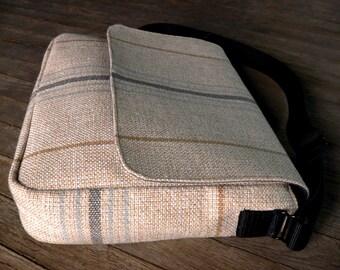 Messenger Bag, Woven Upholstery.  Tan, blue, grey.