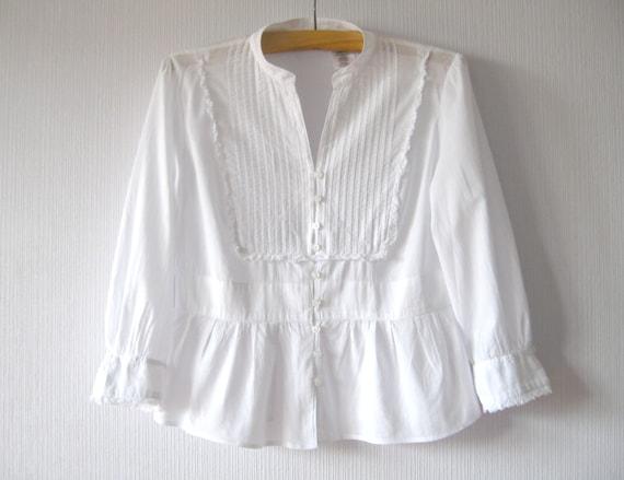 White Blouse Cotton Batiste Feminine Button up by ...