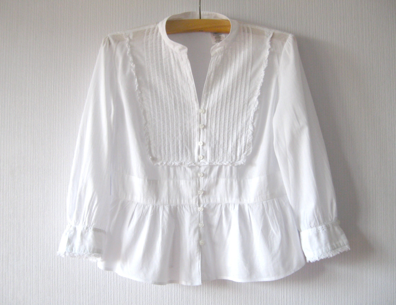 White Blouse Cotton Batiste Feminine Button Up Shirt 3 4