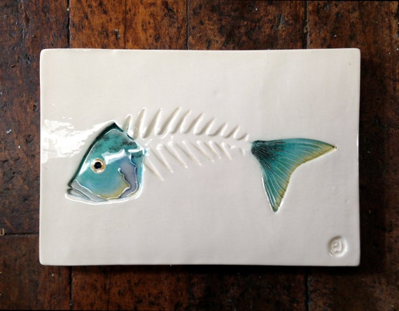 Ceramic Fish Bones : Fish bone art skeleton tile handmade ceramic