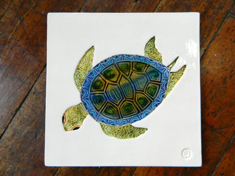 Sea Turtle Art Tile Ceramic Handmade