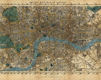 Huge Historic Old London Map old England Map 1860 Restoration Hardware Style Wall Map Old London Street Map Vintage london map fine print