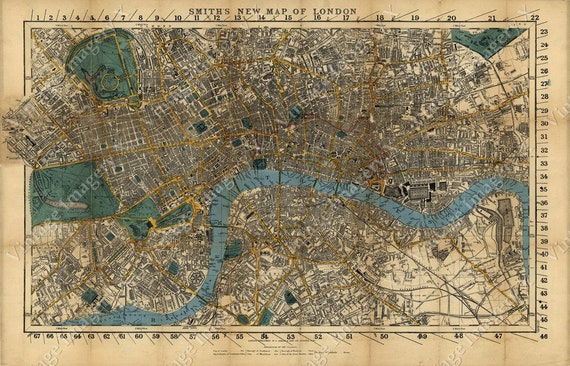 London Map Historic England 1860 Restoration Hardware Style Old London Wall Map Vintage Map Of London poster print English gift Map Decor