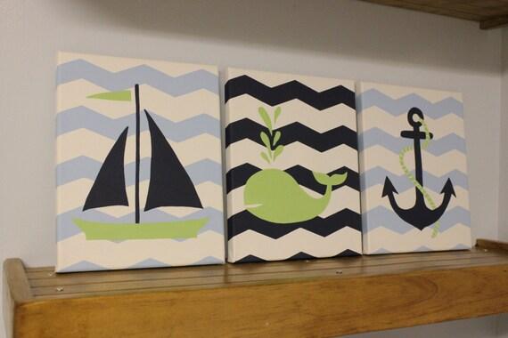 Items Similar To Nautical Nursery Wall Decor Baby Boy Girl