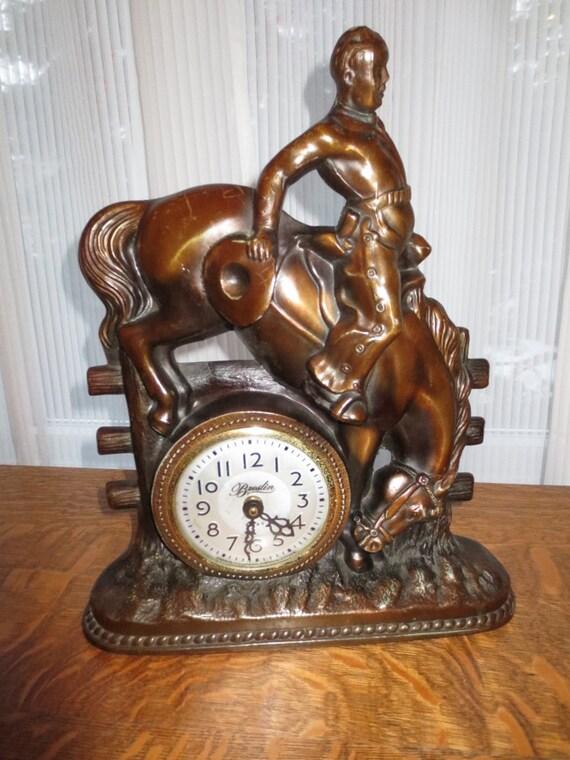 Vintage Breslin Toronto Mantle Clock Bronco Cowboy