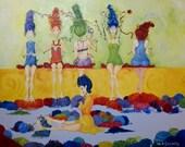 Women knitting wall art. Whimsical women wall art. Home decor wall art. Figurative wall art. Girls room wall art. Original wall art.