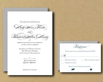 Printable Wedding Invitation Template -Personalized DIY Wedding Invitation Set - Classic Script - Modern RSVP Option