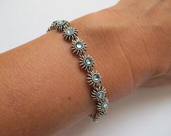 Swarovski silver bracelet,Jewelry,Swarovski bracelet, Filigree bracelet,Israel Jewelry,blue bracelet
