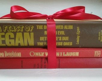 Vintage, Books, Book Bundle, Decorative Book Display, Collection of Books, Red, Yellow, Brown, RhymeswithDaughter
