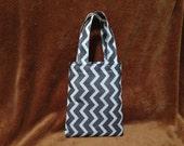 Small Grey and White Chevron Tote Bag
