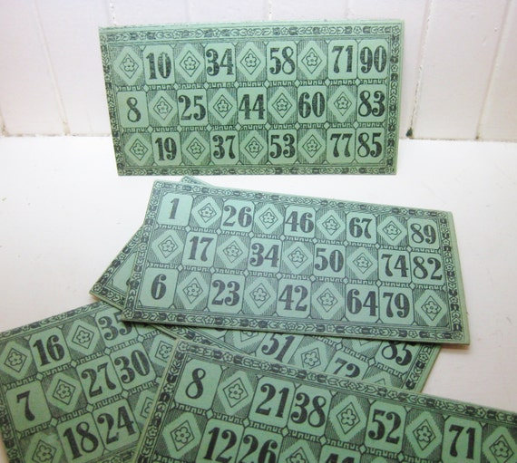 Five vintage lotto cards in green and black. Highly decorative.