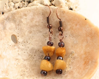Upcycled Stone, Glass and Copper Earrings
