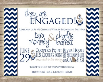 Chevron and Nautical Engagement Party Bridal Wedding Couples Shower Invitation