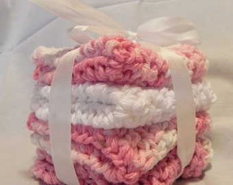 Baby Crochet Wash Cloths Pink and White
