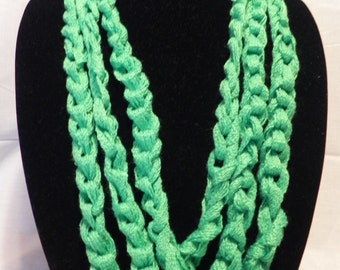 Neon Chunky Crochet Chain Scarf/Necklace in Green, Pink, Orange, Teal, and Multi-colored