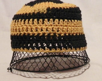 College Football Black and Gold Crochet Hat