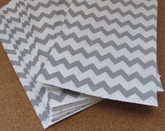 Set of 20--6 x 9 Silver Grey and White Chevron Gift Bags-- Party Favor Bags--Treat Bags--Decorative Paper Bags--Wedding Favor Bags