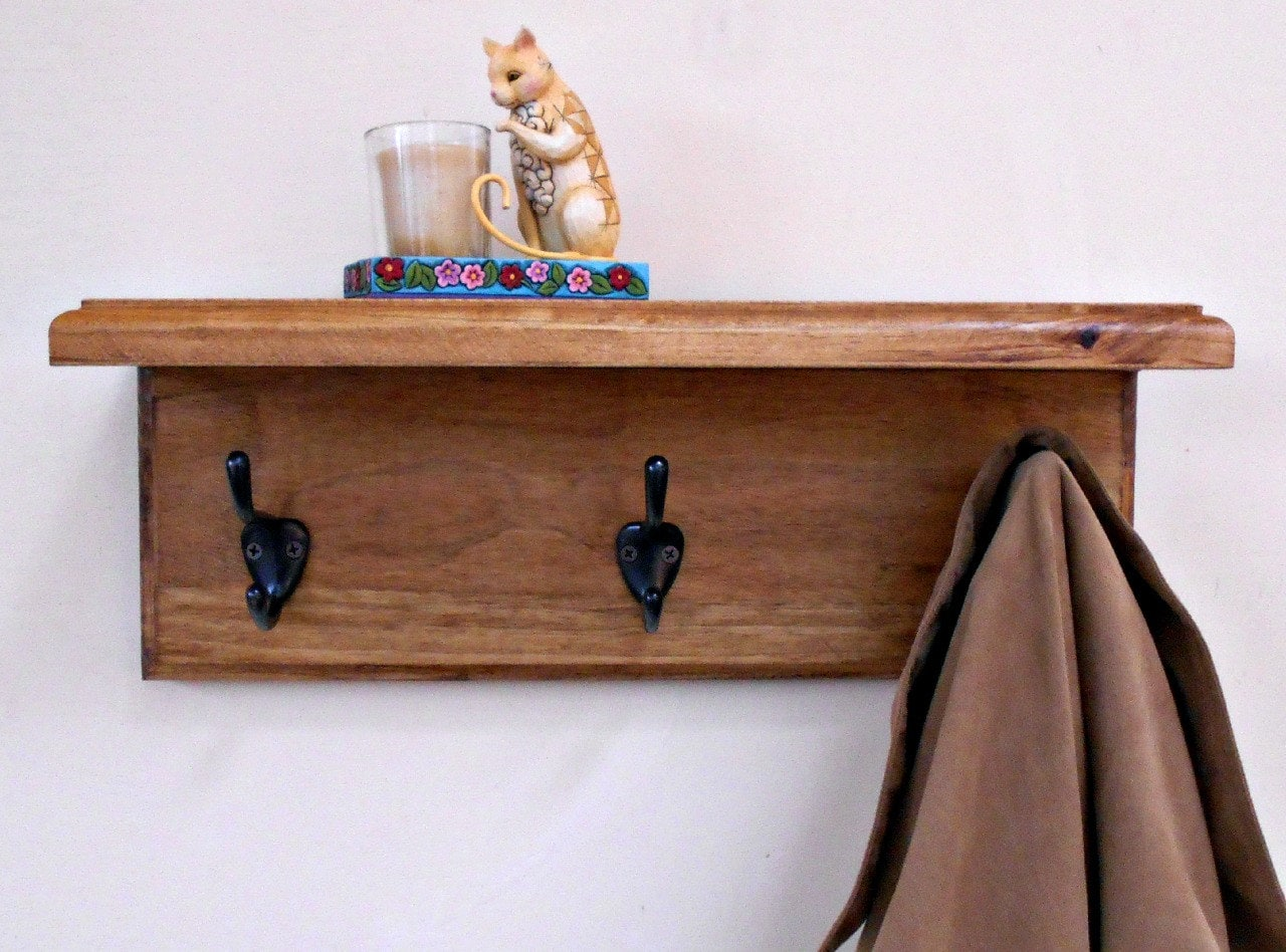 Wall coat rack shelf wood rackstained with hooks