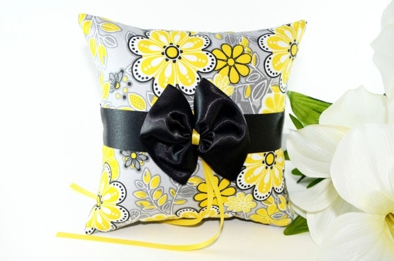 Yellow Fever - Gray and Yellow Ring Bearer Pillow, gray and yellow weddings