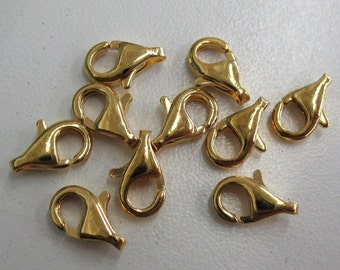 10 Gold Plated Lobster Claw Clasps, 10 x 6 mm - Item 54322