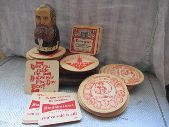 A dozen vintage budweiser beer coasters cardboard craft - Cardboard beer coasters ...