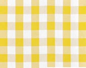 """Yellow 1"""" Inch Checkered Gingham Poly Poplin, 60 Inches Wide By The Yard / Roll 8010"""