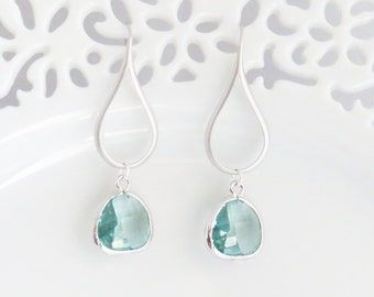 Mom Earrings, Long Aquamarine Earrings, Silver Dangle Earrings, Drop Earrings, Earrings for Mom, Bridesmaid Earrings, Wedding Earrings
