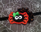 Halloween Headband - Baby Headband - Felt Spider - Orange, Black Shabby Chiffon  - Black Glitter Headband