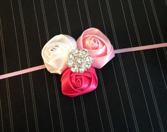 Valentine's Day Baby Headband, White, Pink, Hot Pink Satin Rolled Rosettes Rhinestone Girls Headband