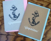 Handmade 'Congratulations' silkscreen printed card featuring classical navy anchor