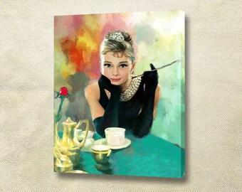 Audrey Hepburn Canvas print art - Gallery Wrapped Canvas -Cotton framed canvas print Handmade wall portrait Home decor.