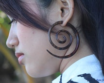 Large Tribal Wooden Earring Double Spiral Fake Gauge Earrings