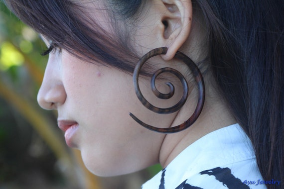 Large Tribal Wooden Earring Double Spiral Fake Gauge Earrings