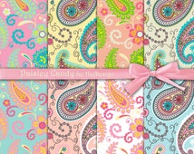 "Paisley digital paper : ""PAISLEY CANDY"" digital scrapbook paper with paisley textures, swirls on pink, green, blue and peach, decoupage"