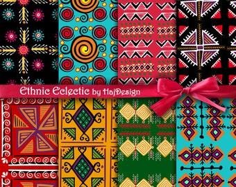 "Tribal digital paper : ""ETHNIC ECLECTIC"" tribal patterns, tribal backgrounds, aztec digital paper, digital scrapbook paper, red, black, blue"