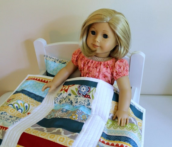 American Girl Sweet and Scrappy Doll Quilt Set ~ 18 inch Doll Quilt and Pillow Set - Doll Bedding Set