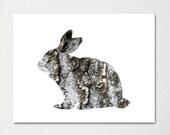 Rabbit / Rustic Woods Collection / Animal Print / Nature Art / Cabin Decor
