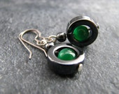 Deep Forest Green And Black Hematite Earrings With Titanium Nickle Free Hooks