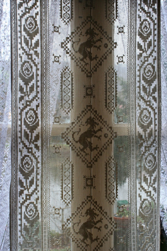 old french curtain vintage lace ivory cream lion