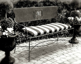 """Bench Photo, Black and White Art, Garden Photography, French Country Photo, Cottage Chic Striped Bench, Topiary Garden Art- """"French Bench"""""""